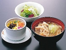 Pork shabu-shabu and soba noodle set