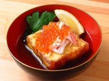 Deep-fried tofu in broth