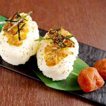 Miso-flavored pork rice ball