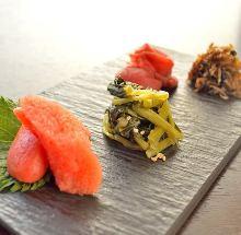 Ochazuzke with dried baby sardine adding Japanese pepper