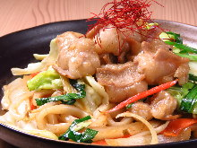 Stir-fried udon noodles with offal