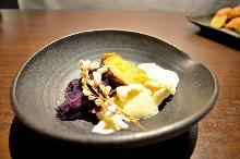 Sweet potato teppanyaki with vanilla ice cream