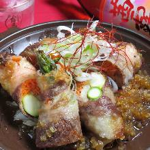 Grilled beef-wrapped sukiyaki skewer
