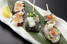 Assorted grilled seafood skewers, 3 kinds