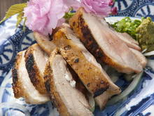 Salted and grilled locally raised chicken