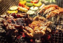 Jamaican jerk chicken with pita