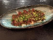 Marbled horse meat sashimi