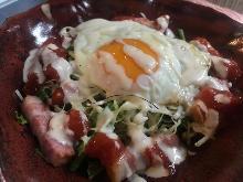 Fried egg caesar salad