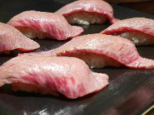 Seared kalbi sushi