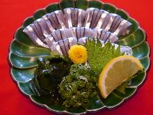 Silver-stripe round herring sashimi