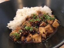 Spicy tofu rice bowl
