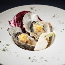 Oysters steamed in wine