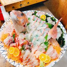Sea bream sugata-zukuri (sliced sashimi served maintaining the look of the whole fish)