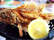 Deep-fried whole marbled rockfish
