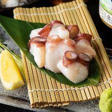Chopped fresh raw octopus