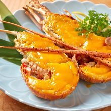 Grilled sea urchin and spiny lobster