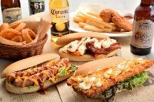 Fried fish hot dog