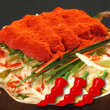 Marinated cod roe and offal hotpot