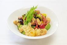 Seafood and vegetable tempura rice bowl