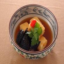 Fried tofu with soup