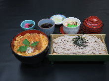 Pork cutlet rice bowl and buckwheat noodles meal