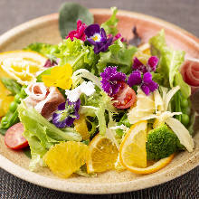 Seasonal vegetable salad with citrus dressing