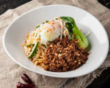 Chinese noodles mixed with Chinese sesame paste and chili oil