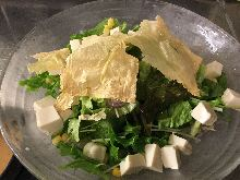 Green salad with tofu skin and tofu