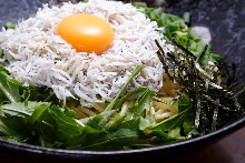 Pasta with egg and whitebait