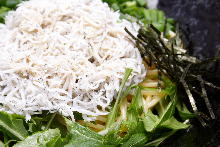 Pasta with boiled whitebait
