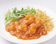 Large shrimp with chili sauce