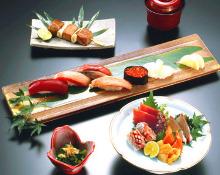Nigiri sushi and sashimi set