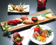 Nigiri sushi and sashimi set