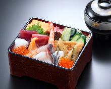 Chirashizushi and red miso soup