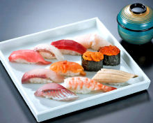 Assorted nigiri sushi (11 kinds) with red miso soup