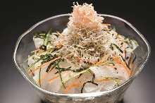 Daikon and baby sardines salad