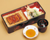 Eel over rice in a laquered box with tempura set