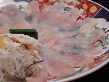 Thinly sliced pufferfish sashimi