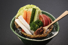 Seasonal vegetables with a unique miso sauce, contrived by a sumo wrestler