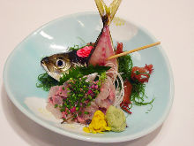 Live horse mackerel sashimi