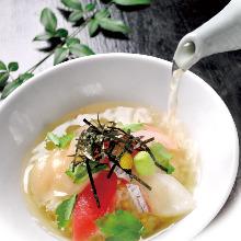 Kaisen chazuke (seafood and rice with tea)