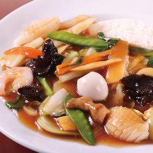 Chop suey rice bowl