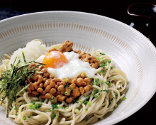 Natto on buckwheat noodles