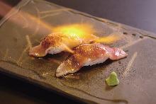 Seared Wagyu beef nigiri sushi