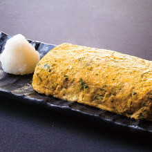 Japanese-style rolled omelet using locally raised chicken egg