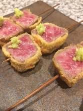 Fried marbled Wagyu beef skewers