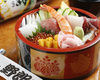 Special sushi rice in a box with a variety of ingredients