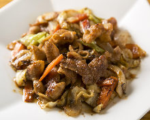 Stir-fried pork offal with miso