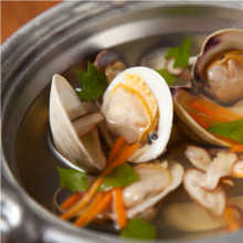 Clams steamed with sake