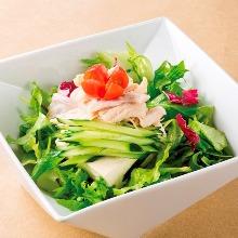 くずし豆腐と蒸し鶏のサラダ